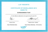 LUX* RESORTS Certificate of Excellence 2012